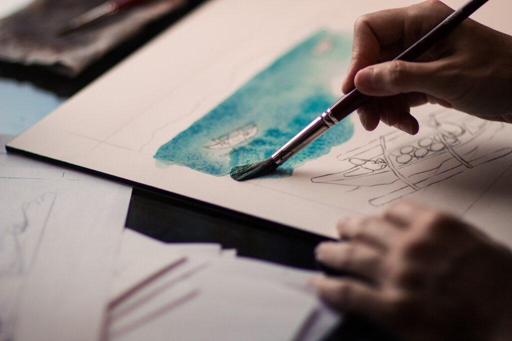 hands, paint, brush
